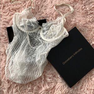 Gooseberry Intimates White Lace bodysuit .